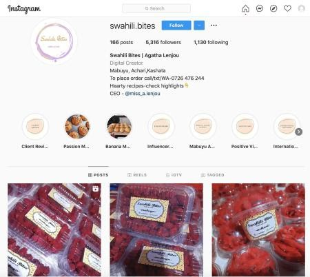 The Swahili Bites page on Instagram, showing red swahili sweets.